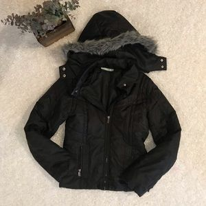 Maurice's Small Black Faux Fur Hooded Coat